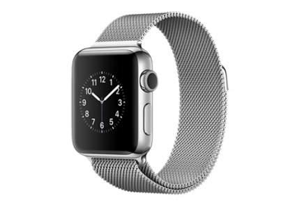 Apple Watch Series 2,  38 мм, корпус из нержавеющей стали, миланский сетчатый браслет