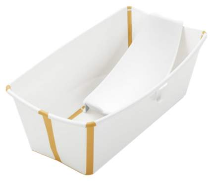 Ванночка с горкой Stokke Flexi Bath Bundle, Tub with Newborn Support White Yellow
