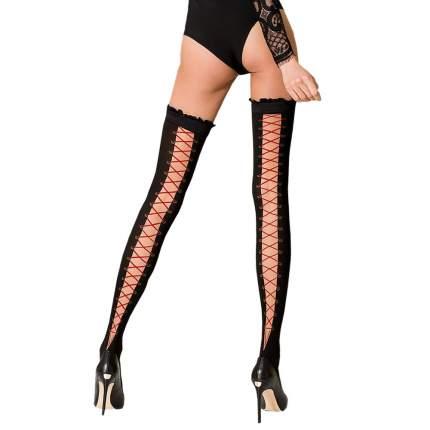 Чулки Passion с имитацией шнуровки черные с красным 3-4 размер