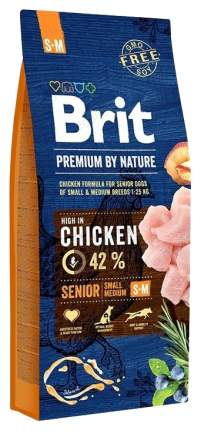 Сухой корм для собак Brit Premium By Nature Senior S+M, для пожилых, курица, 15кг
