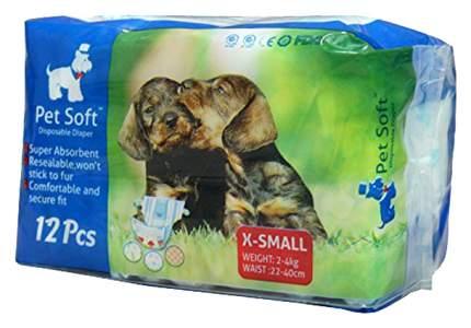 Подгузники для собак Pet Soft одноразовые впитывающие Diaper 12 штук X