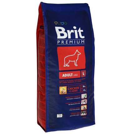 """Корм сухой Brit Premium """"Adult L"""" для взрослых собак крупных пород, с курицей, 15 кг"""