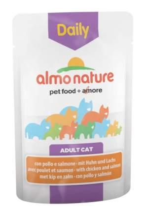 Влажный корм для кошек Almo Nature Daily Adult, курица и лосось, 30шт по 70г