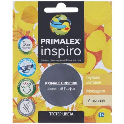 Краска для внутренних работ Primalex Inspiro Тестер 40мл Атласный Графит, PMX-I38