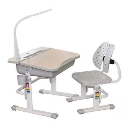Комплект парта и стульчик Mealux EVO-03 с лампой клен, серый,