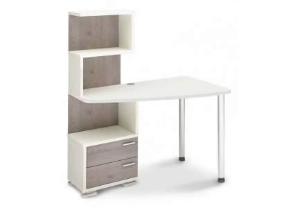 Компьютерный стол Мэрдэс Домино нельсон СКМ-60 MER_SKM-60_BEN-PRAV, белый жемчуг/нельсон