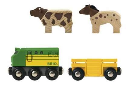 Набор железная дорога Brio Фермерский поезд Вагоны с животными 33404
