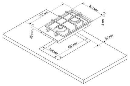 Встраиваемая варочная панель газовая Electronicsdeluxe TG2 400215F-000 Silver