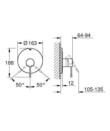 Смеситель для встраиваемой системы Grohe Essence+ 19286001 серебристый
