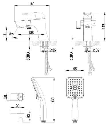 Смеситель с гигиеническим душем LEMARK Unit LM4515C хром