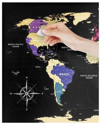 Географическая карта 1DEA.me Travel Map Black World