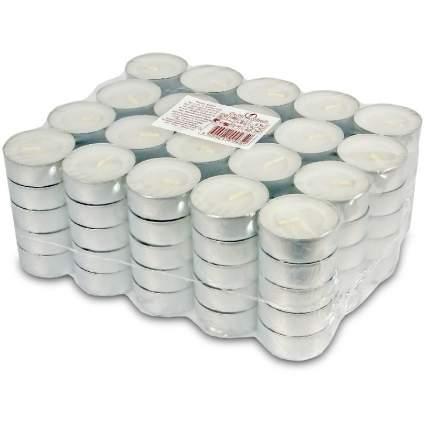 Свеча чайная 100 шт, 4 см, белая 0015