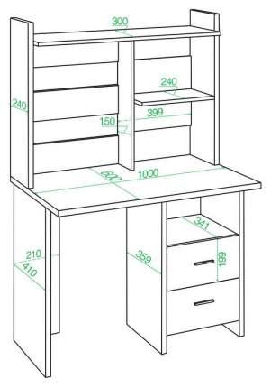 Компьютерный стол Мэрдэс СКЛ-Прям100+НКЛ-100 100x60x152 см, бежевый/белый