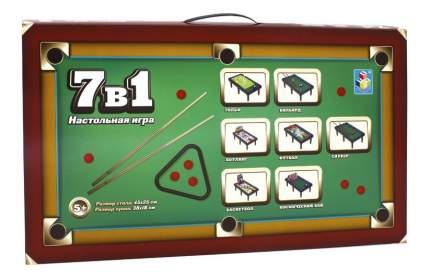 Настольная игра 1Toy 7 в 1 бильярд, боулинг, баскетбол, футбол, гольф и др. 45х25 см
