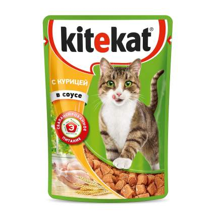 Влажный корм для кошек Kitekat c сочными кусочками курицы в соусе, 28 шт по 85г