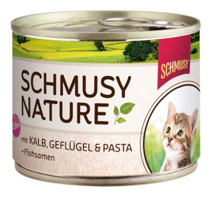 Консервы для котят Schmusy Nature's Menu, с телятиной, птицей и лапшой, 190г