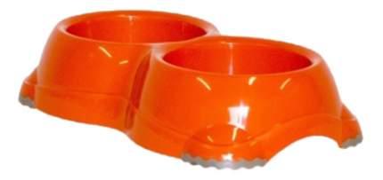 Двойная миска для кошек и собак MODERNA, пластик, оранжевый, 2 шт по 0.645 л