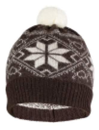 Шапка детская Norveg коричневая с белыми снежинками (текстильный помпон) 7CWU-018