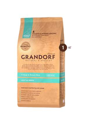 Сухой корм для собак Grandorf Living Probiotics Adult, индейка, кролик, лосось, утка, 1кг