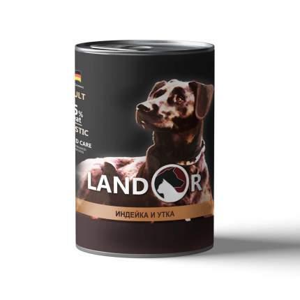 Консервы для собак Landor, все породы, индейка с уткой, 400г