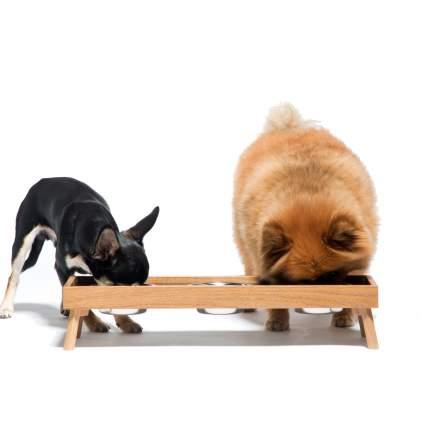 Тройная миска для кошек и собак Pettel ELA, массив дуба, 3 x 0,25 л