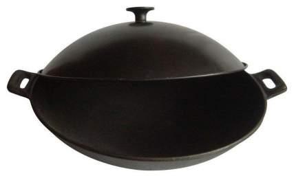 Сковорода Mallony W-31L Вок, чугунная, с металлической крышкой, диаметр 31см