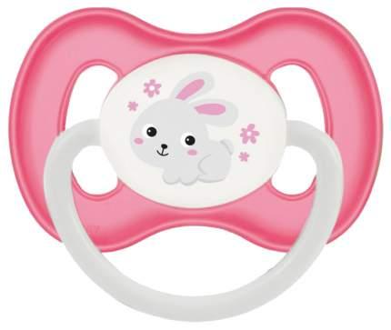 Пустышка симметричная Canpol Bunny & company силикон 0м+, цвет розовый/зайчик