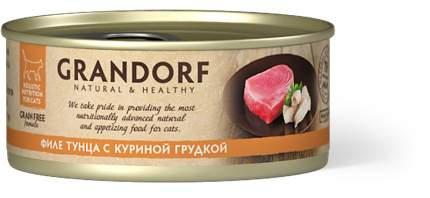 Консервы для кошек Grandorf, филе тунца с куриной грудкой, 70г