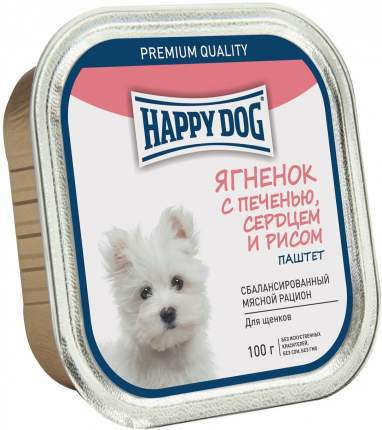 Консервы для щенков Happy Dog, для мелких пород, ягненок с печенью, сердцем и рисом, 100г