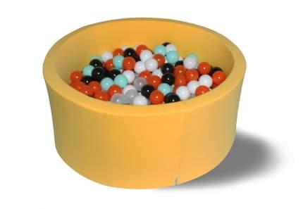 Сухой бассейн Лимонное сияние желтый 40см с 250 шарами: черн, бел, оранж, мятн, прозр