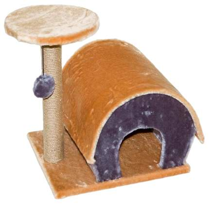 Комплекс для кошек Дарэлл, коричневый, фиолетовый, 2 уровня
