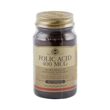 Фолиевая кислота таблетки 400 мг 100 шт. Solgar