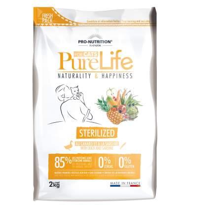 Сухой корм для кошек Flatazor Pure Life Sterilized, для стерилизованных, утка, сардины,2кг