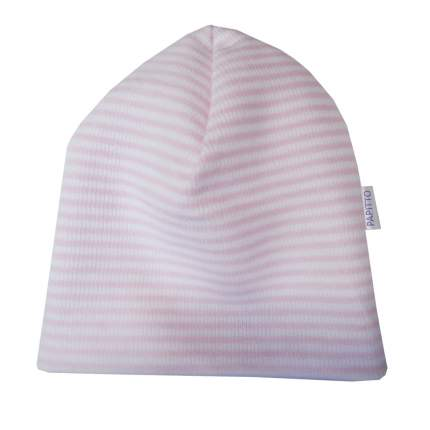 Шапка детская Папитто с начесом розовая полоска р.48 49-031