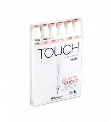 Набор двухсторонних спиртовых маркеров Brush Touch Twin 6 Шт Телесные тона