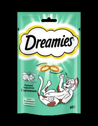 Лакомство для кошек Dreamies, подушечки с кроликом, 6 шт. по 60 г