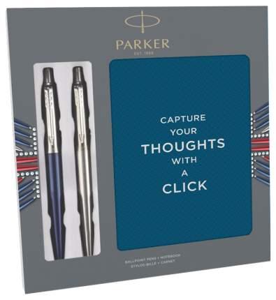 Parker Jotter Core - Stainless Steel CT/Waterloo Blue CT 2 шариковые ручки + блок
