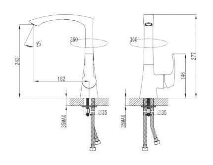 Смеситель для кухонной мойки SmartSant Смарт-Прайм SM113501AA хром