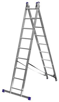 Лестница СИБИН универсальная,трехсекционная со стабилизатором, 9 ступеней