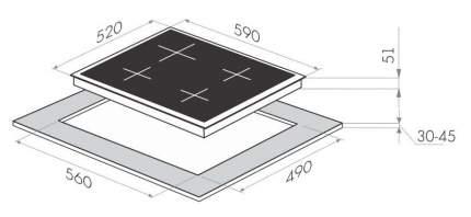 Встраиваемая варочная панель газовая MAUNFELD MGHG 64 17RIG Black