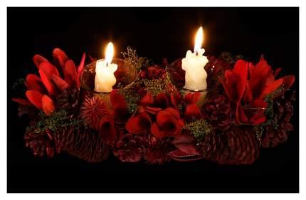 Подсвечник из шишек на 2 свечи Рождественское Чудо 31*15 см 142364