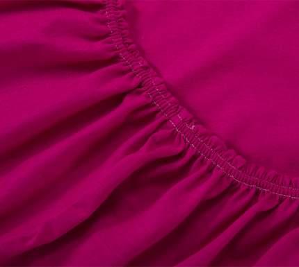 Простыня трикотажнаяна резинке (бордовая) 90х200х20
