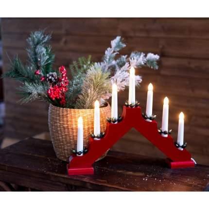 Kaemingk Светильник-горка Кристиан 40*30 см 7 электрических свечей, красный 540426