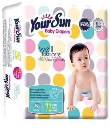 Подгузники для новорожденных YourSun, размер S (0-6 кг), 72 шт