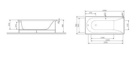 Акриловая ванна AM.PM Spirit 150х70 без гидромассажа