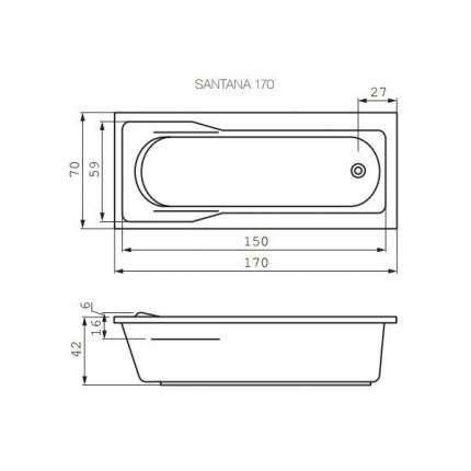 Акриловая ванна Cersanit WP-SANTANA*170-W