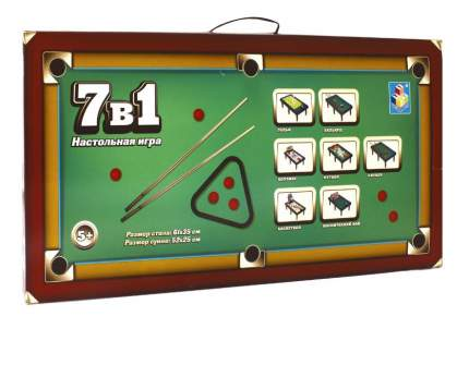 Настольная игра 1Toy 7 в 1 бильярд, боулинг, баскетбол, футбол, гольф и др. 61х35 см