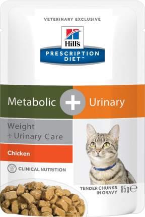 Влажный корм для кошек Hill's Prescription Diet Metabolic+Urinary, курица, 12 шт по 85г