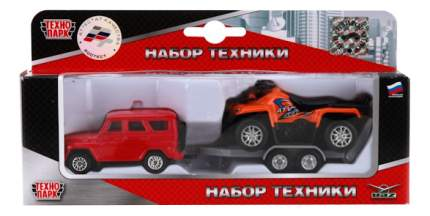 Набор машин городского транспорта Технопарк УАЗ с квадроциклом на прицепе