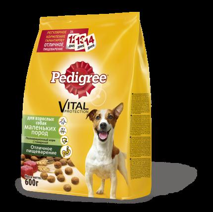 Сухой корм для собак Pedigree Vital Protection для маленьких пород, говядина, 0.6кг